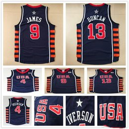 Wholesale Usa Olympic Basketball - 2004 Athens Olympic USA Team Basketball Jerseys Dream 6 Navy Blue Throwback #4 Allen Iverson 13 Tim Duncan 9 LeBron James Jersey