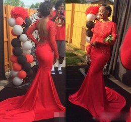Wholesale formal gown long stretch - Luxury Prom Dresses 2017 Sheer O-neck Applique with Long Sleeve Floor Length Stretch Satin Red Mermaid Formal Evening Gowns vestido de festa