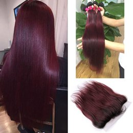 Wholesale Two Color Frontal Closure - New Sale Two Tone 1B 99j Dark Root Ombre Virgin Straight Hair Bundles With Lace Frontal Closure Burgundy Ombre Hair With Fontals