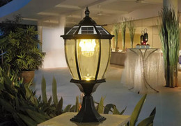 Wholesale Led Color Lantern - solar power post lantern outdoor post lights super bright led garden lights walll lamp warm white cold white color light sensor functions LL