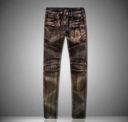 Wholesale Bronze Jeans - Fashion pleated jeans for men top quality bronze slim denim pants street brand pencil jean male Motorcycle spliced long trousers