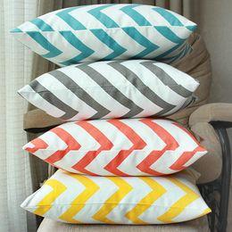Wholesale Gray Chevron Pillows - 100% cotton canvas 220gsm orange gray zig zag style chevron throw pillow case sofa decorative pillow cover