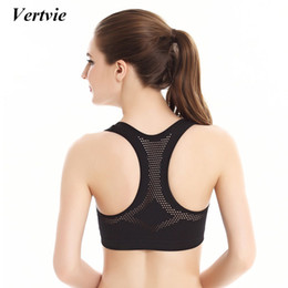 70d700609f Wholesale- Vertvie Sexy Hollow Mesh Women Sports Bra Running Fitness Top  Push Up Yoga Bras Outdoor Jogging Gym Clothing