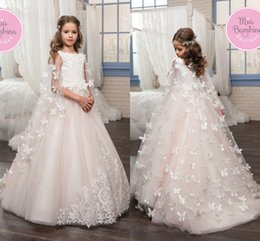Wholesale Pretty Pictures Flowers - 2017 Pretty White Blush Pink Flower Girl Dresses Bow Wrap Princess Lace Appliqued Girls Pageant Gowns Kids Formal First Communion Gowns
