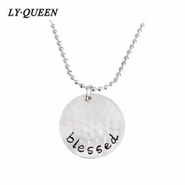 "Wholesale Letter Initials Word Pendant - Fashion Best Blessing Word ""Blessed"" Shape Round Pendant Necklace Gold Silver Black Mixed Wholesale On Behalf Of The Delivery"