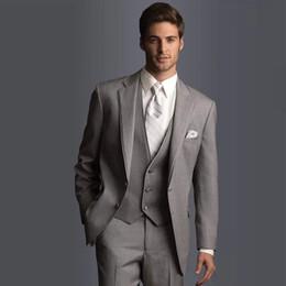 Wholesale Cheap Groomsmen Vests - Handsome Wedding Tuxedos Slim Fit Suits For Men Groomsmen Suit Three Pieces Cheap Prom Formal Suits(Jacket+Vest+Pants)