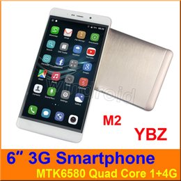Wholesale Pink Touch Mobiles - YBZ M2 6 inch MTK6580 1G 4GB Android 6.0 960*540 Dual SIM 3G WCDMA Unlocked Smartphone Mobile phone Gesture wake Free case big screen 5pcs