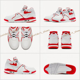 Wholesale Air Flights 89 - High Quality Retro Men's Basketball shoes 4 Air Flight 89 Alternate set in white leather uppers discount Sneakers Air Sports shoes