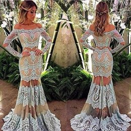 Wholesale Nude Boat Neck - Boat Neck Long Sleeves Two Pieces Lace Evening Dresses Light Blue over Nude Mermaid See Through Skirt Custom Made