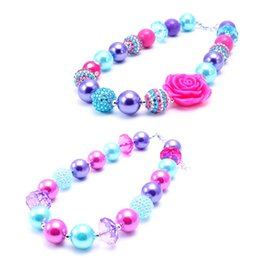 Wholesale Beaded Jewelry Designs - 2PCS Newest Design Pink+Blue Flower Necklace Birthday Party Gift For Toddlers Girls Beaded Bubblegum Baby Kids Chunky Necklace Jewelry