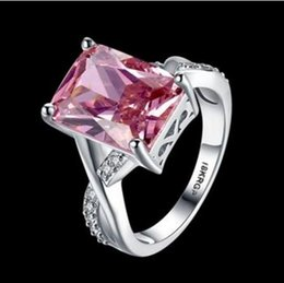 Wholesale Rectangle Wedding Rings - Exclusive Rectangle pink Cubic Zircon Lady's 18KT white Gold Filled Classic rings