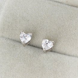 Wholesale Gold Plated Jewelry For Children - Kids Jewelry 18K White Gold Plated AAA+ Cubic Zirconia CZ Heart Stud Earrings Anti-Allergic Jewelry for Children Girls Hot Gift