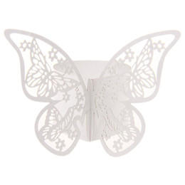 Wholesale Butterfly Paper Napkins - Wholesale- 50pcs Butterfly Paper Napkin Rings for Wedding Party decoration Wedding Favors Four Colors for your chose