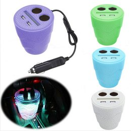 Wholesale Dual Cigarette Lighter Adapter Usb - Cup Car Charger 12 24V LED Car Charger Power Adapter 2 Car Cigarette Lighter Splitter Dual USB Port Charger Cup Holder