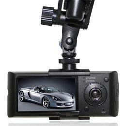 obiettivo nero doppio dell'automobile Sconti 10 PZ Nuovo CAR DVR rivelatore da 2,7 pollici Dual Camera Car Blackbox DVR con GPS Logger e G-sensor X3000 Car Camera