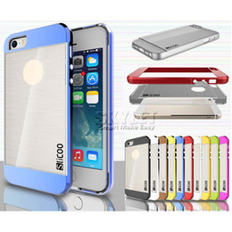 Wholesale Bumper Iphone Retail - For Iphone 7 Slicoo Hybrid Case Electroplate PC Bumper Soft TPU Back Cover Brush Case For Iphone 6s LG G3 With Retail Package