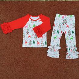 Wholesale Elk Clothes - Christmas Kids Clothes Red White Green Elk Printed Icing Raglan Tshirt Girls Clothing Set 2pcs Ruffle Toddler Girls Outfit