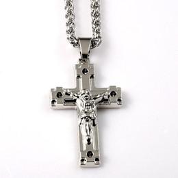Wholesale Jewelry Design Cross For Man - Mens Jesus Cross Necklaces Fashion Hip Hop Jewelry Design Long Chains Punk Rock Rap Men Necklaces For Sale