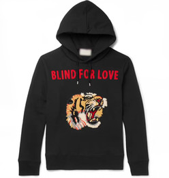 Wholesale Printed Hoodie Tiger - 2017 Good Quality Tiger pattern Men's Hoodies BLIND FOR LOVE Letter ,Autumn Winterv Casual Long Sleeve Sweatshirts