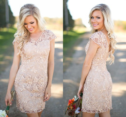 Wholesale Mini Dresses For Cheap - Elegant Lace Champagne Country Bridesmaid Dresses V Neck Cap Sleeves Sheath Short Party Dresses For Weddings Cheap Beach Bridesmaid Dresses