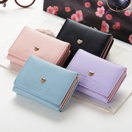 Wholesale Coin Purses Heart Shaped - Han edition wallet female cute little heart-shaped fashion folding short little pure and fresh and contracted mini wallet purse female stude