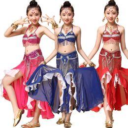 Wholesale Belly Belt Bellydance - New Style Belly Dance Costume 3pcs Bra&Belt&Skirt Dancing Kids Dance Clothes Child Indian Set Children Bellydance Wear