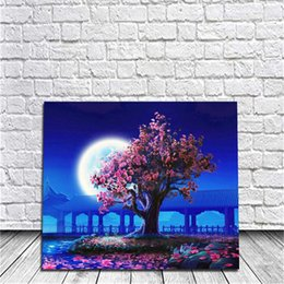 Wholesale Tree Life Panel Painting - Framed Moonlight Tree DIY Painting By Numbers Drawing By Painting Kits Painting Hand Painted On Canvas For Home Wall Art Picture Poster