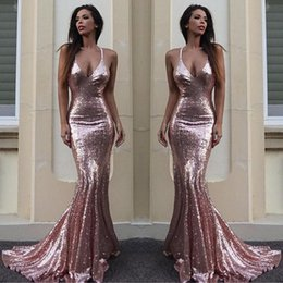 Wholesale Halter Mermaid Dress Bling - vestidos de fiesta Mermaid Sequins Evening Dresses 2017 V Neck Gorgeous Bling Court Train Formal Prom Dresses BA6496