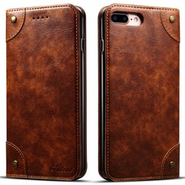 Wholesale Apple Business Credit - Luxury Retro Premium Leather Flip Wallet Case Business Credit Card Holder Cover With Card Slot For iPhone 8 6 6s 7 Plus