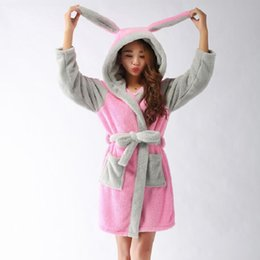 Wholesale Women S Soft Robes - Wholesale- New Winter Autumn Women's Long-Sleeve Pink Rabbit Bathrobes Thickening Plus Size Home Casual Sleepwear Soft Robe For Women