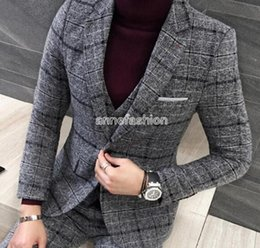 Wholesale Window Dressings - Autumn Winter window check pattern woolen men suit blazer sets custom made wedding dress best man suit (jacket+pants+vest)