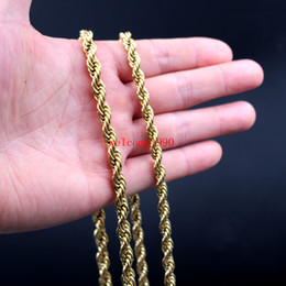 Wholesale Twisted Rope Chain Necklace Women - 24 inch Huge 6mm  7mm Gold Plated Stainless Steel Twisted singapore chain Rope Chain Link Necklaces Women Men Fashion GIfts