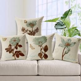 Wholesale Flower Throw Pillow - 1 Pcs Retro Cotton Linen Square Vintage Flowers Throw Pillow Case Decorative Cushion Cover Pillowcase Beautiful Design
