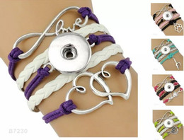 Wholesale Jewelry Pieces For Leather Bracelets - (10 Pieces Lot)Infinity Love Snap Heart To Heart Dance Music Anchor Hope Charm Leather Wrap Bracelets For Women Men Gifts Jewelry