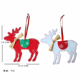 Wholesale Metal Christmas Tree Ornaments - Wholesale-2016 New 2 PCS Christmas Tree Deer Decor Ornaments with Ribbon Christmas Party Decoration DIY Craft Elk