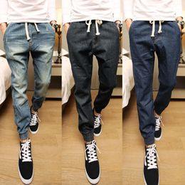 Wholesale Stylish Men Trousers - Wholesale- 2016 Men's Joggers Collection Stylish Mid Waist Drawstring Mens Joggers Trousers Denim Slim Fit Long Men Harem Pants Retails Hot