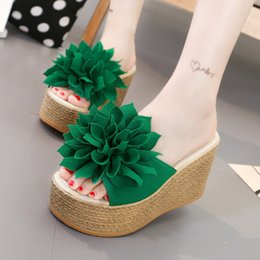 Wholesale Waterproof Slip Shoe Covers - Fashion Women High-heeled Platform Peep-toe Cool Slippers Female Flowers Waterproof Increased A-word Shoes Sandals 34-40