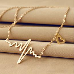 Cuore della collana del pendente di amore del titanio online-Commercio all'ingrosso- Collana Ecg Collana a forma di cuore in acciaio al titanio con cuore a forma di cuore Collana a forma di cuore femminile Collana retro gioielli Accessorie