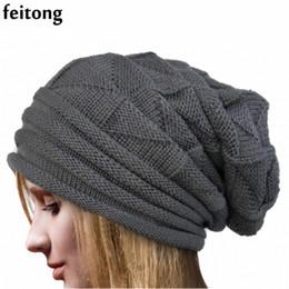 Wholesale Bonnets Women - Feitong Fashion Bonnet Femme Women Hat Winter Hat Female Winter Beanie Crochet Knit Warm Hats For Women Cap
