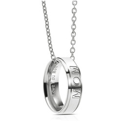 mom band Coupons - hot sale Stainless Steel Love You DAD MOM Necklace Band Ring Pendant Family member Love Women Men Fashion Jewelry Drop Shipping