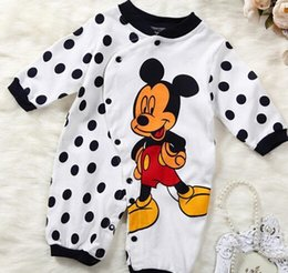 Wholesale Girls One Set Retail - Hot sale!1pc retail 2016 baby boy girl cartoon minnie mickey romper long sleeves infants one-piece baby clothing set