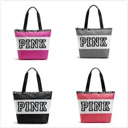 Wholesale Nylon Bucket - Fashion Pink Letter Handbags Secret VS Shoulder Bags Women Love Large Capacity Travel Duffle Striped Waterproof Beach Bag Shoulder Bag