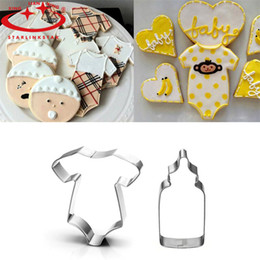 Wholesale Baby Cookie Cutters - Wholesale- 3D Lovely Baby Clothing Feeding Bottle Shape Stainless Steel Cookie Cutter Biscuit Mould Baking Tool For Cake Decor