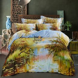 Wholesale Grass Duvet Cover - Wongs Bedding Set Green Reed grass River Painting 3D Vivid Duvet Cover Quality Twill Cool Bed Set king queen Sizes 4pcs Scenery