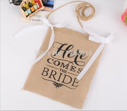 "Wholesale Photo Banners - Wholesale- Free Shipping ""Here Comes The Bride"" Wedding Flower Girl Sign Rustic Wedding Chair Photo Props Burlap Banner Party Supplies"