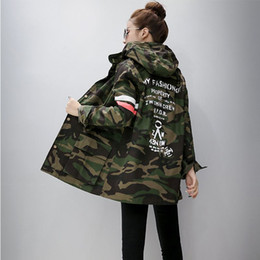 Wholesale Korean Casual Frocks - Harajuku Korean Girls Student Camouflage Long Section Hooded Trench Coat Casual Graffiti windbreaker Female frock Outerwear
