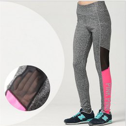 Wholesale Tight Fitting Girls - VS pink Women Leggings yoga pants Pink PINK letter sports fitness gym running sexy long skinny pants Quick Dry fit Mesh Leggings trouses