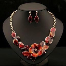 Wholesale Resin Flower Bib Necklace - Beautiful Flower Womens Jewelry Sets 4 Color Option Gold Plated Enamel Statement Pendant Bib Necklace Earring Set
