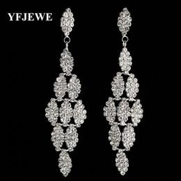 Wholesale Jewelry Earrings Large - YFJEWE Luxurious Crystal Earrings for Women's Birthday Large Long Dangle Earrings Bridal Wedding Jewelry Woman #E359