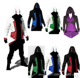 Wholesale Boys Costumes Assassins Creed - Hot Sale Assassins Creed 3 III Conner Kenway Hoodie Coat Jacket Cosplay Costume